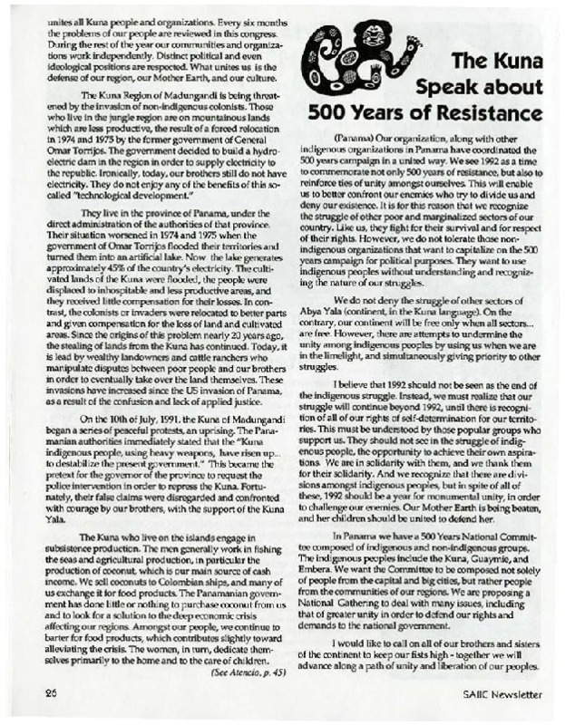 The Kuna Speak about 500 Year of Resistance