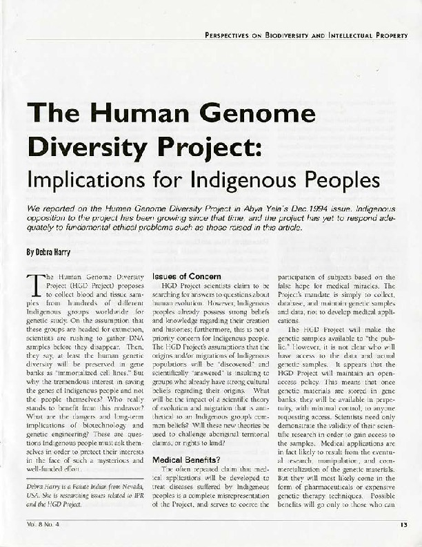 The Human Genome Diversity Project: Implications for Indigenous Peoples
