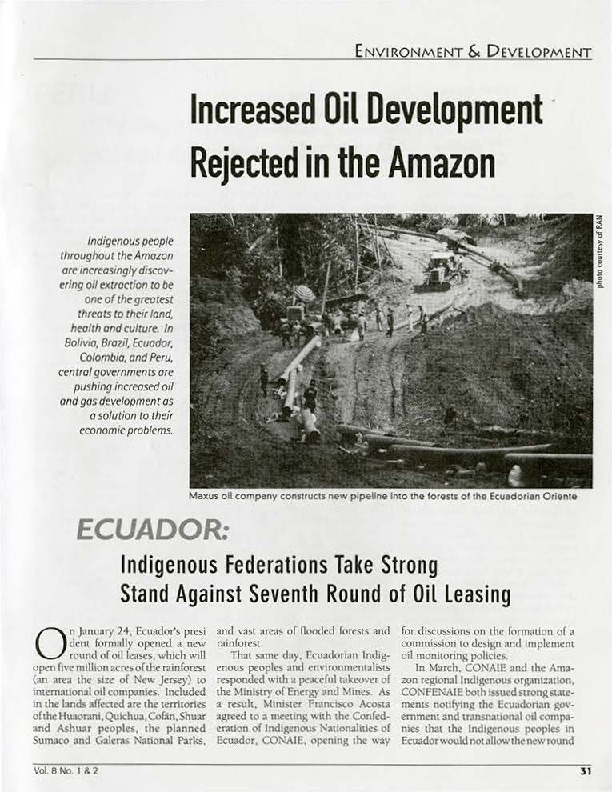 Ecuador: Indigenous Federations Take Strong Stand Against Seventh Round of Oil Leasing