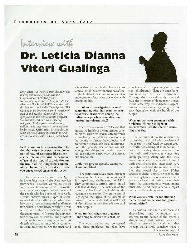 Interview with Dr Leticia Dianna Viteri Gualinga