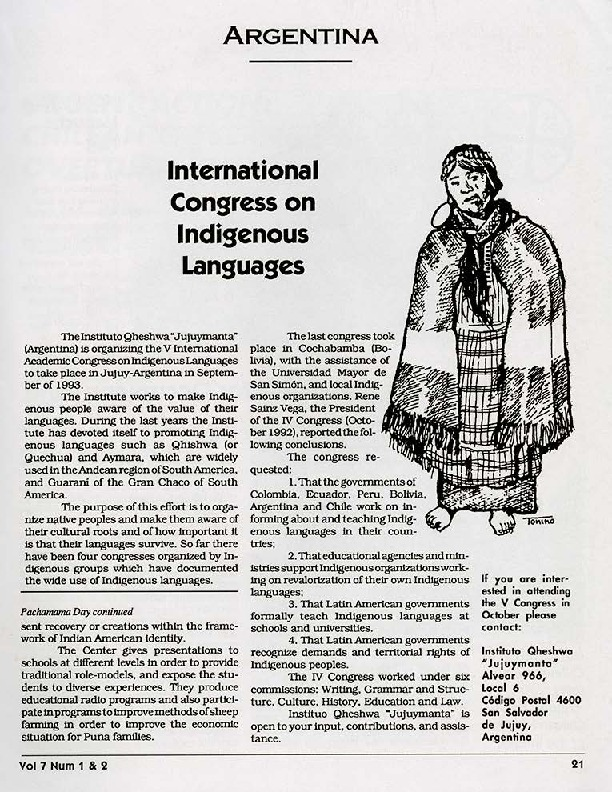 Argentina: International Congress on Indigenous Languages