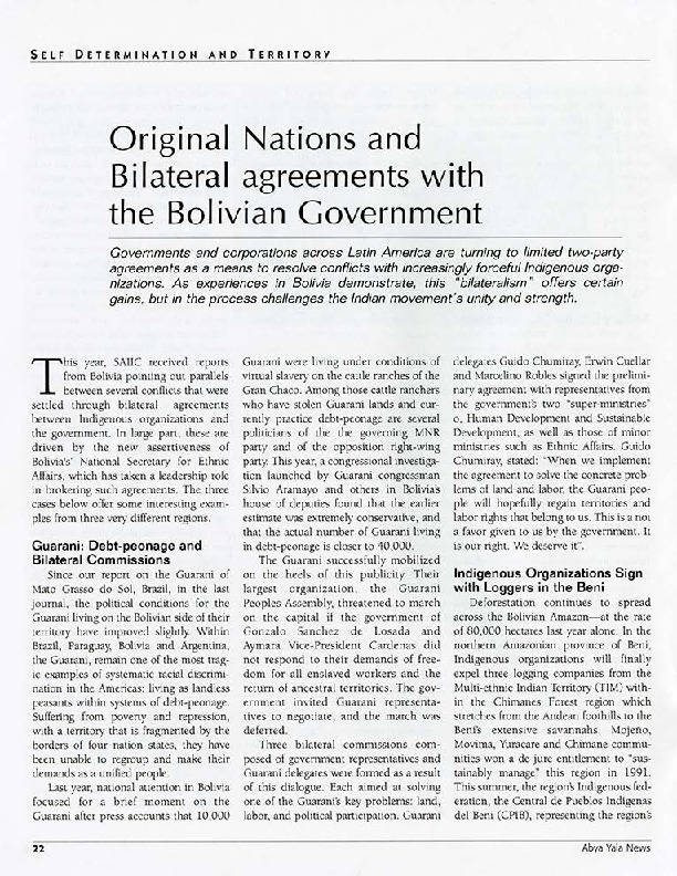 Original Nations And Bilateral Agreements With The Bolivian