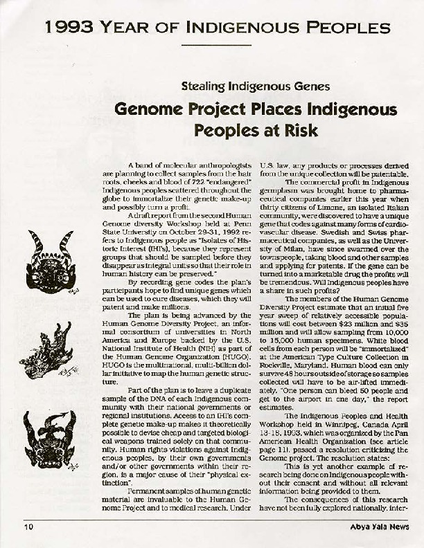 Stealing Indigenous Genes: Genome Project Places Indigenous Peoples at Risk