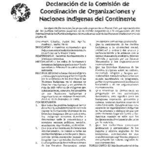 Declaracion de la Comision de Coordinacion de Organizaciones y Naciones Indigenas del Continente