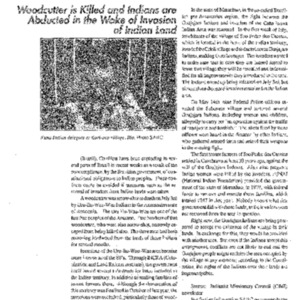 Woodcutter is Killed and Indians are Abducted in the Wake of Invasion of Indian Land (Brazil)