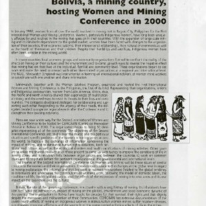 Bolivia, a mining country, hosting Women and Mining conference in 2000
