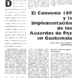 El Convenio 169 y la Implementacion de los Acuerdos de Paz en Guatemala