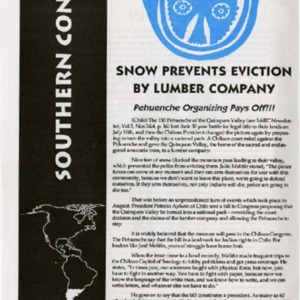 Snow  Prevents Eviction by Lumber Company: Pehuenche Organizing Pays Off!!!