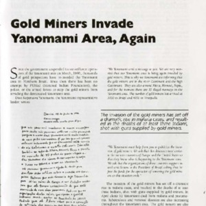 Gold Miners Invade Yanomami Area, Again