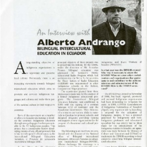 An Interview With Alberto Andrango Bilingual Intercultural Education in Ecuador
