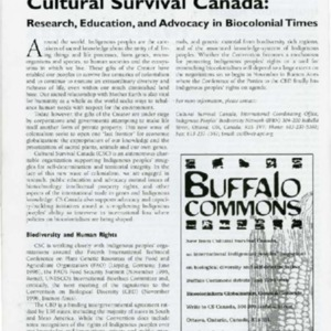 Cultural Survival Canada: Research, Education, and Advocacy in Biocolonial Times