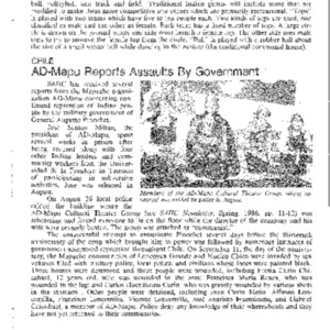 AD-Mapu Reports Assaults by Government (Chile)