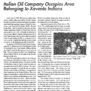 Italian Oil Company Occupies Area Belonging to Xavante Indians (Brazil)