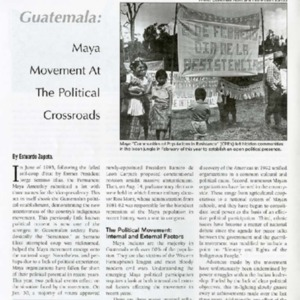 Maya Movement at the Political Crossroads (Guatemala)