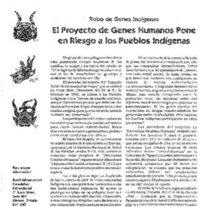 Robo de Genes Indigenas: El Proyecto de Genes Humanos Pone en Riesgo a los Pueblos Indigenas