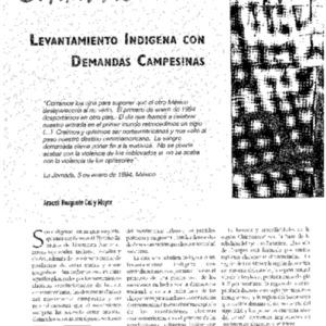 Chiapas: Levantamiento Indigena con Demandas Campesinas