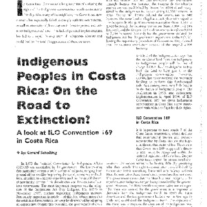 Indigenous Peoples in Costa Rica: On the Road to Extinction?: A look at ILO Convention 169 in Costa Rica