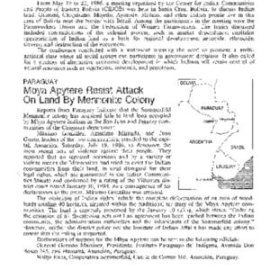 Mbya Apytere Resist Attack on Land by Mennonite Colony (Paraguay)