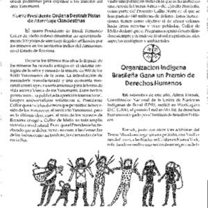 Organizacion Indigena Brasilena Gana un Premio de Derechos Humanos (Brasil)