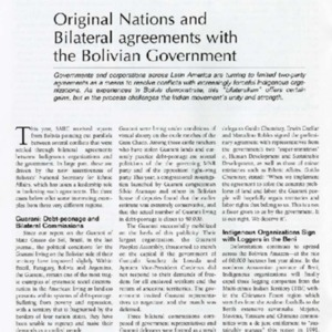 Original Nations and Bilateral Agreements with the Bolivian Government