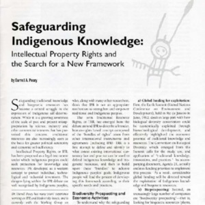Safeguarding Indigenous Knowledge: Intellectual Property Rights and the Search for a New Framework