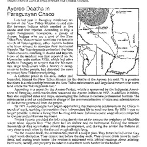 Ayoreo Deaths In Paraguayan Chaco