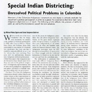 Special Indian Districting: Unresolved Political Problems in Colombia
